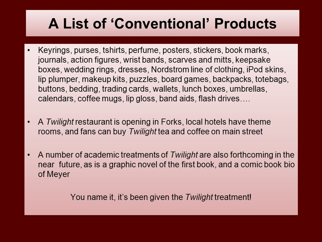 A List of 'Conventional' Products