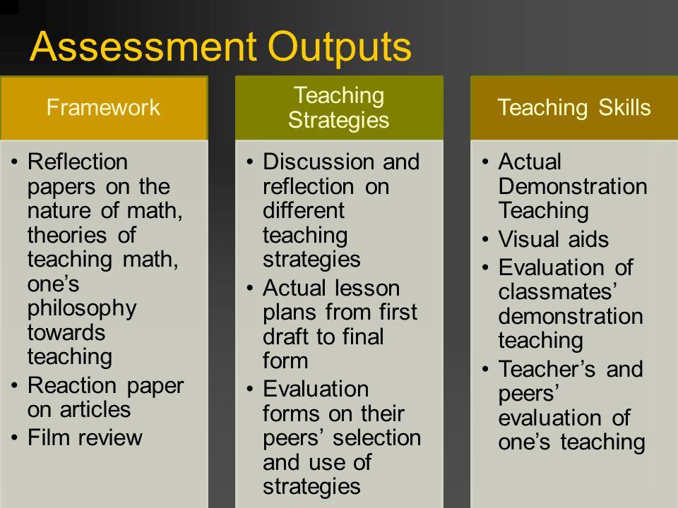 Assessment Outputs Framework