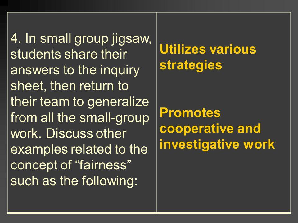 4. In small group jigsaw, students share their answers to the inquiry sheet, then return to their team to generalize from all the small-group work. Discuss other examples related to the concept of fairness such as the following: