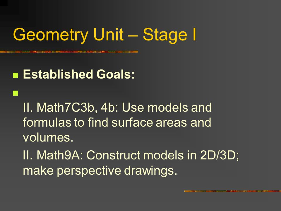 Geometry Unit – Stage I Established Goals: