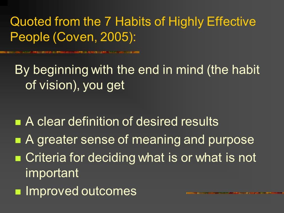 Quoted from the 7 Habits of Highly Effective People (Coven, 2005):