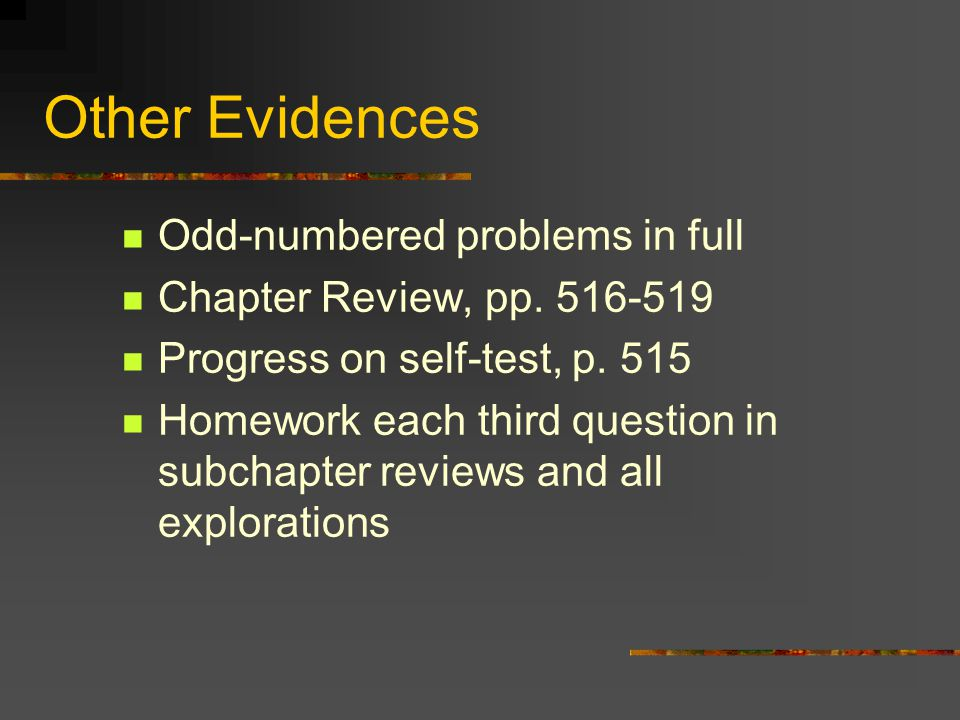 Other Evidences Odd-numbered problems in full