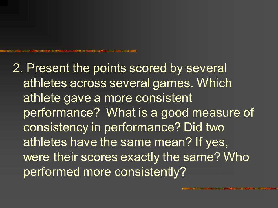 2. Present the points scored by several athletes across several games