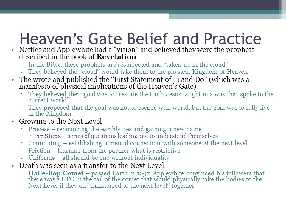 Heaven's Gate Belief and Practice