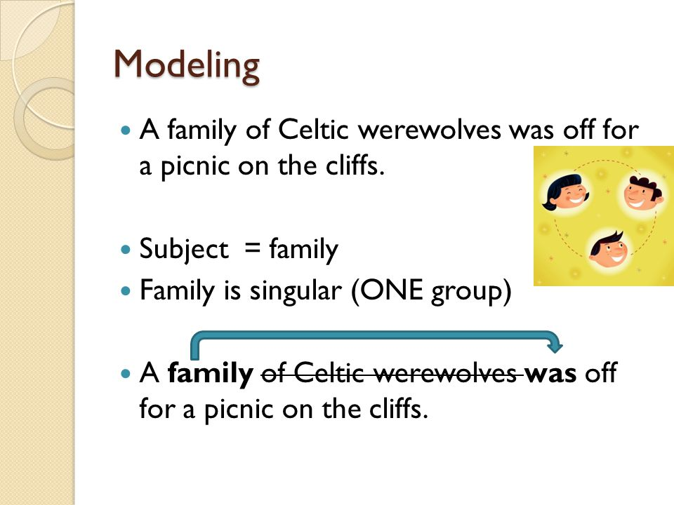 Modeling A family of Celtic werewolves was off for a picnic on the cliffs. Subject = family. Family is singular (ONE group)