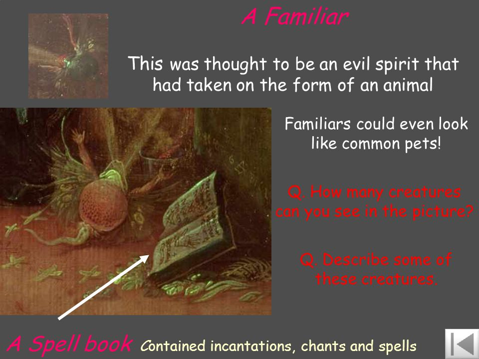 A Familiar This was thought to be an evil spirit that had taken on the form of an animal