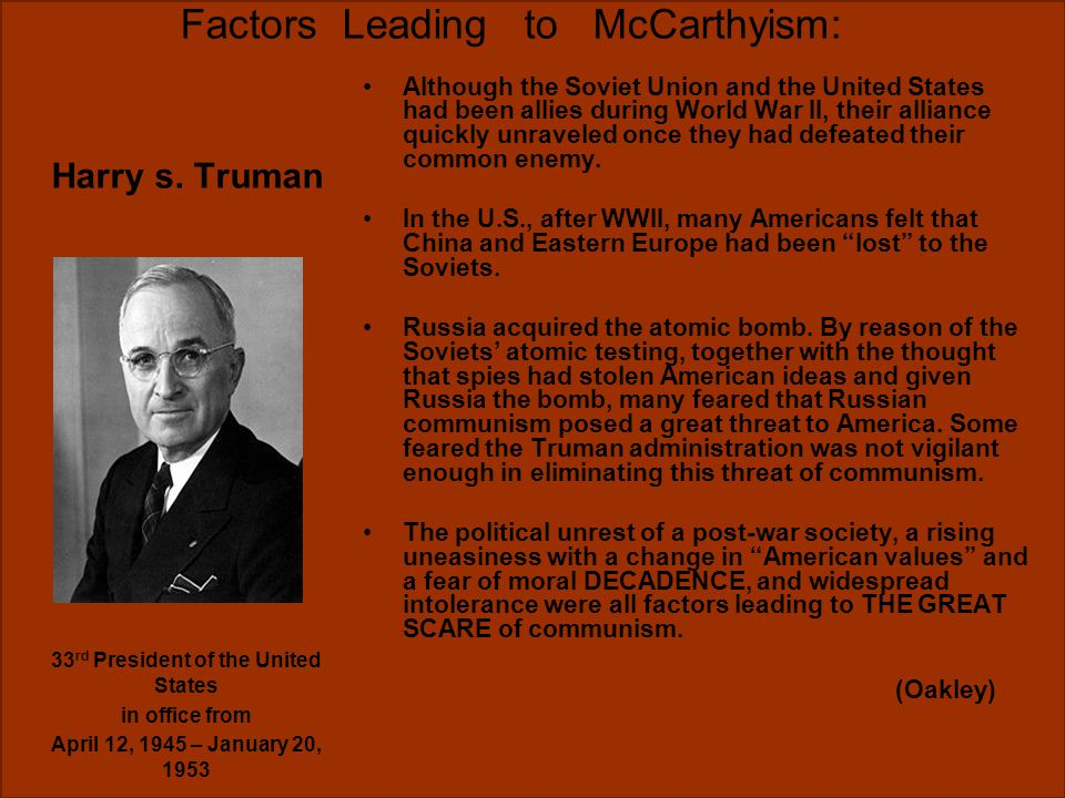 Factors Leading to McCarthyism: