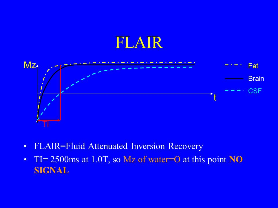 FLAIR Mz t FLAIR=Fluid Attenuated Inversion Recovery