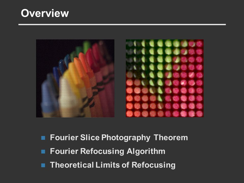 Overview Fourier Slice Photography Theorem