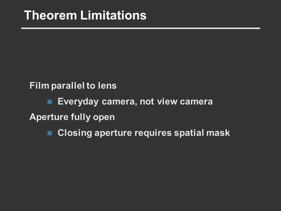 Theorem Limitations Film parallel to lens