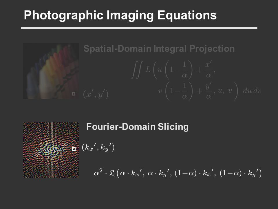Photographic Imaging Equations