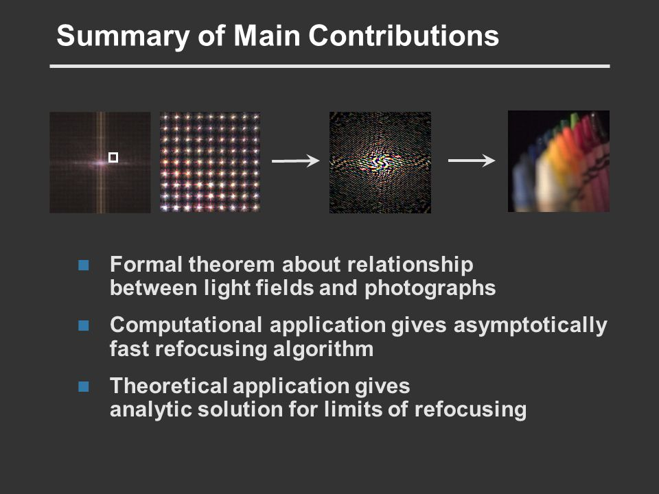 Summary of Main Contributions