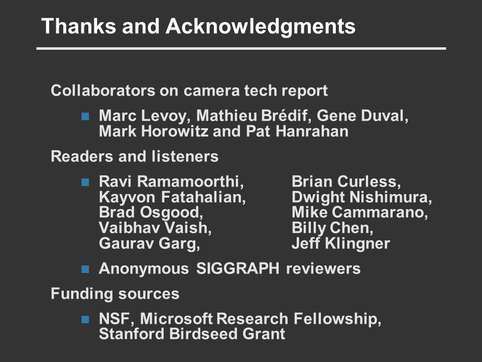 Thanks and Acknowledgments