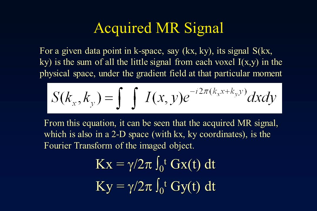 Acquired MR Signal Kx = g/2p 0t Gx(t) dt Ky = g/2p 0t Gy(t) dt