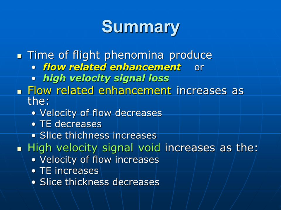 Summary Time of flight phenomina produce