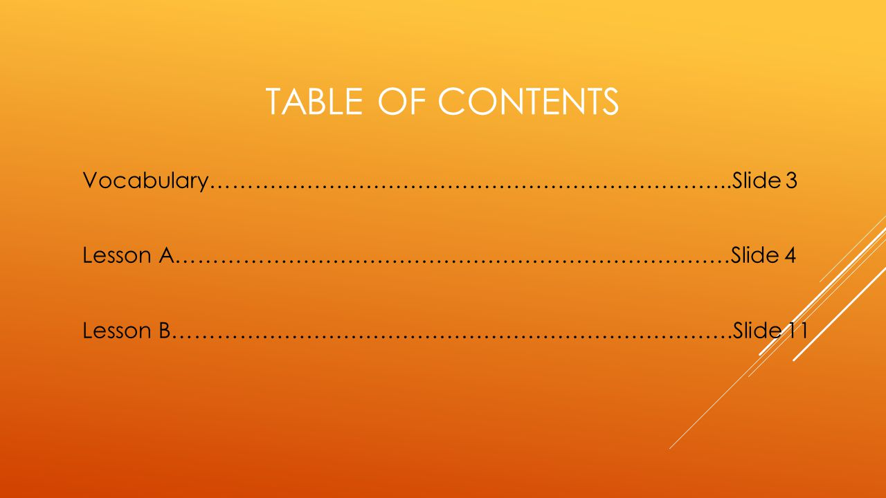 Table of contents Vocabulary……………………………………………………………..Slide 3