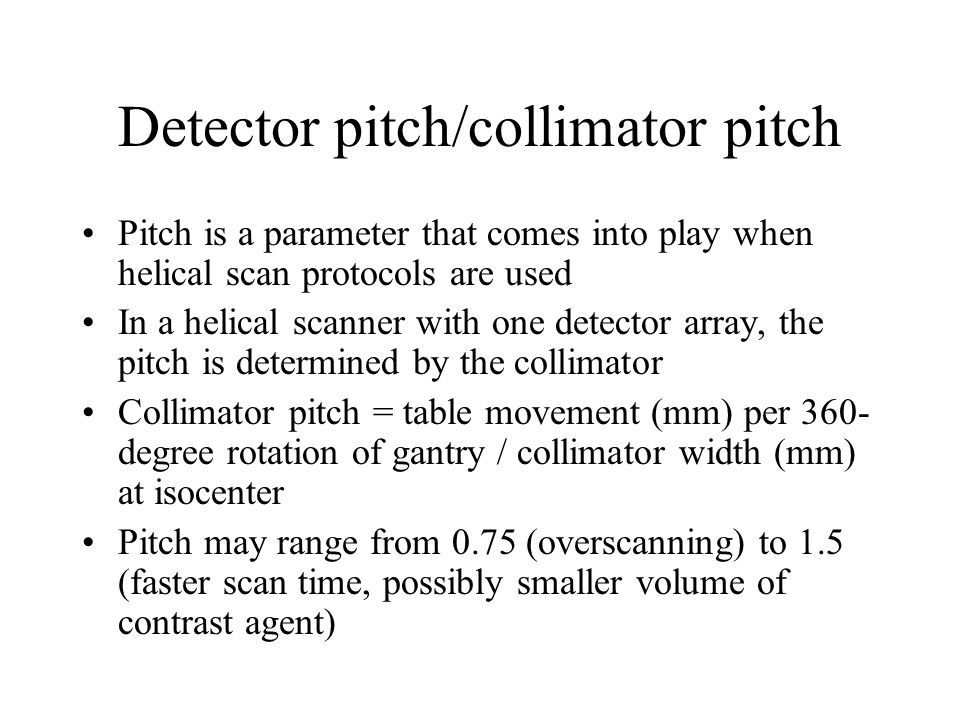 Detector pitch/collimator pitch