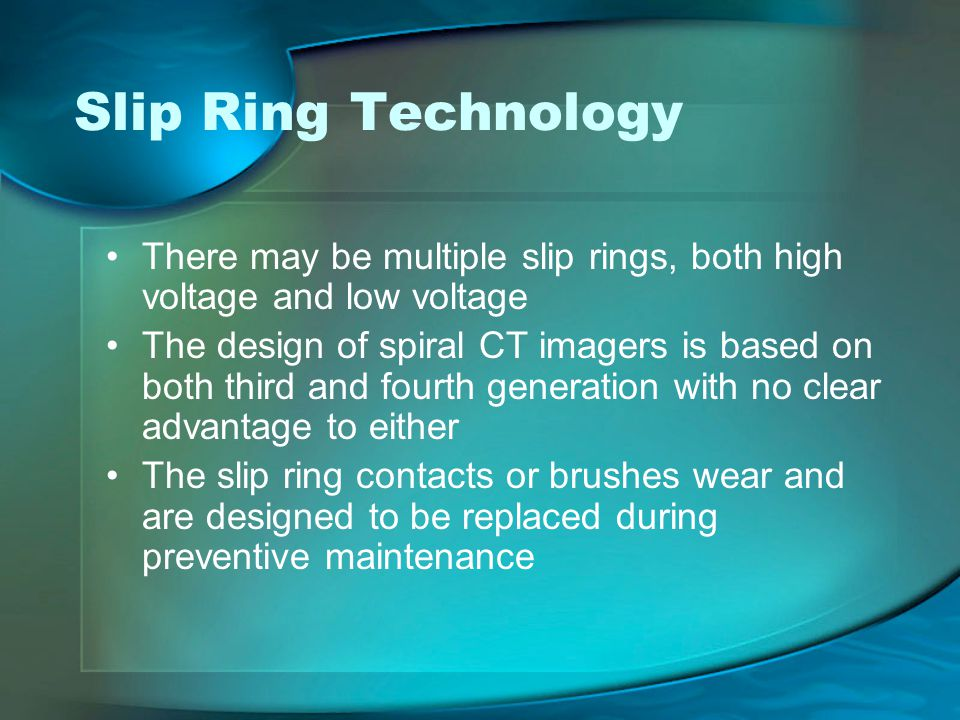 Slip Ring Technology There may be multiple slip rings, both high voltage and low voltage.