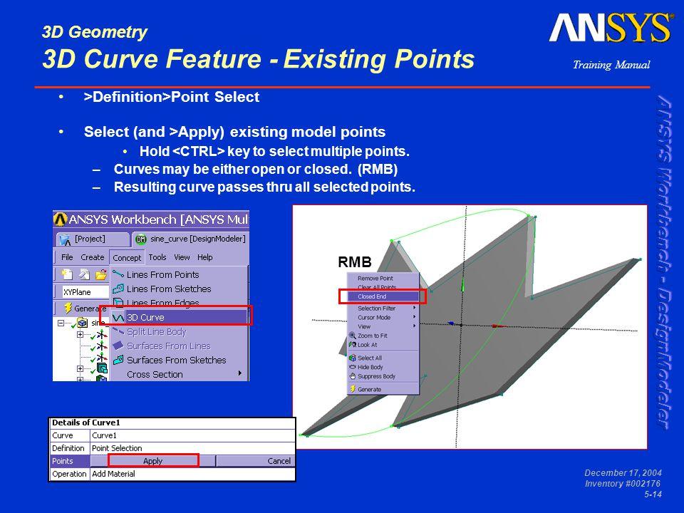 3D Geometry 3D Curve Feature - Existing Points