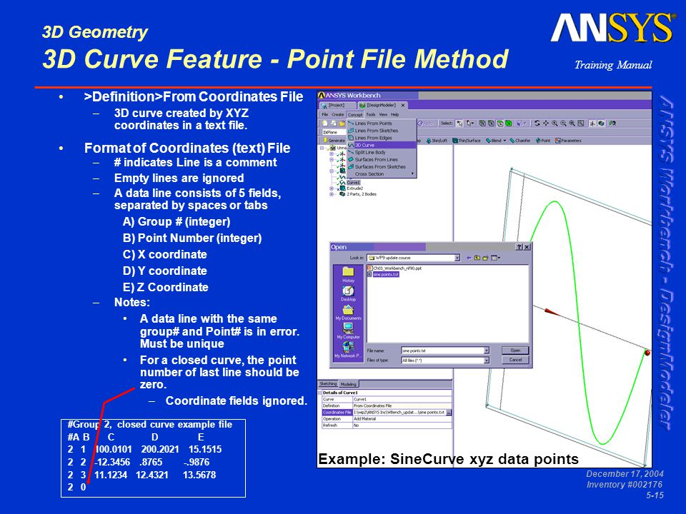 3D Geometry 3D Curve Feature - Point File Method