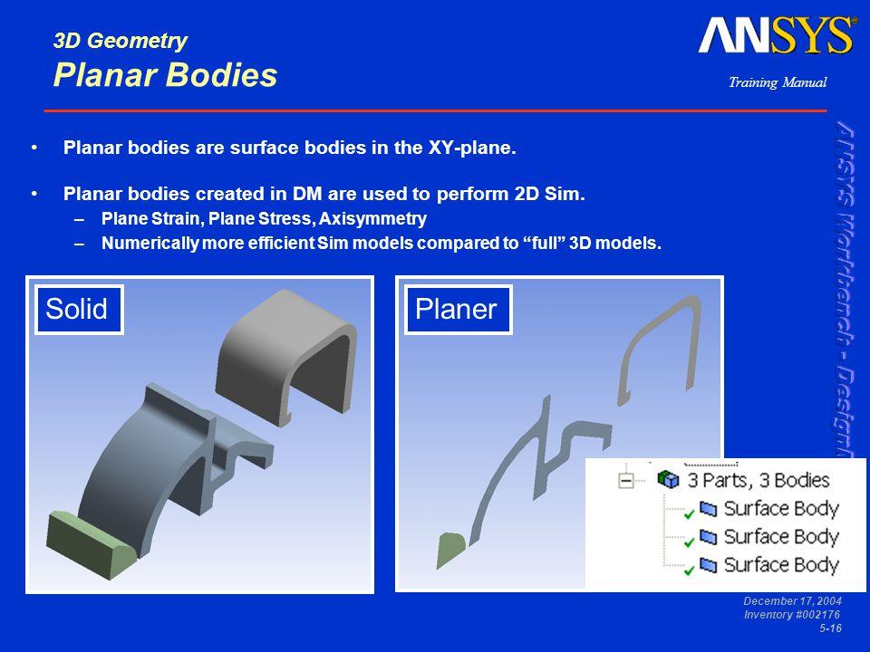 3D Geometry Planar Bodies