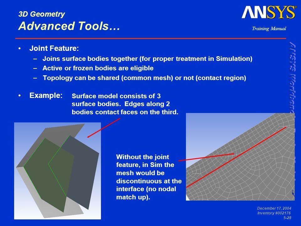 3D Geometry Advanced Tools…