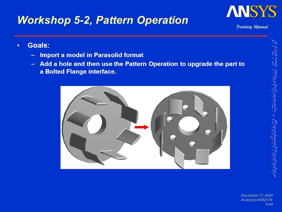 Workshop 5-2, Pattern Operation