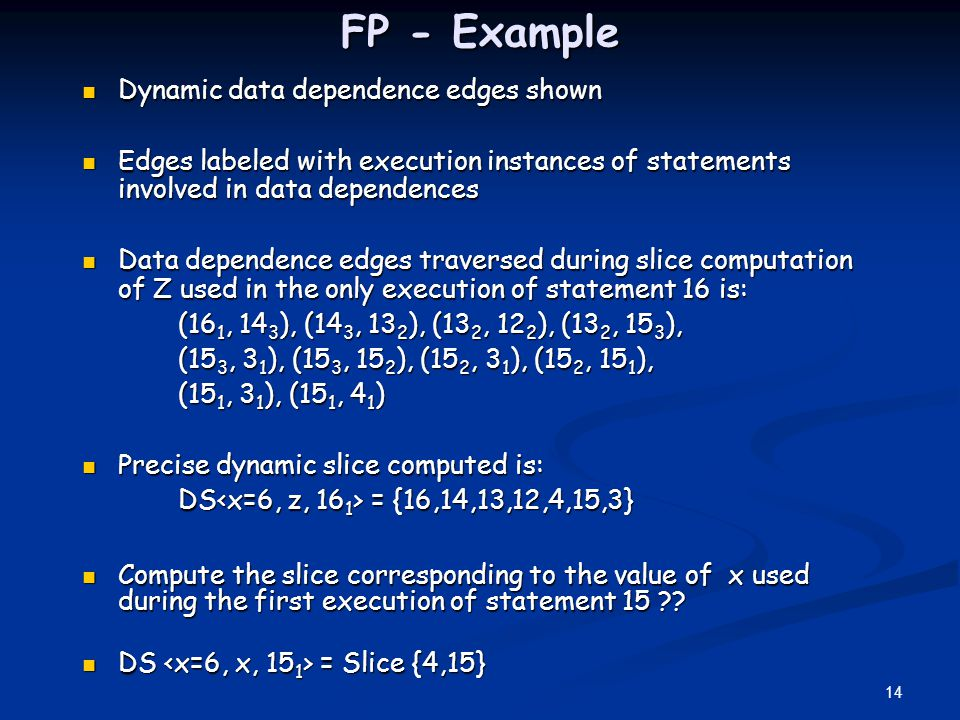 FP - Example Dynamic data dependence edges shown