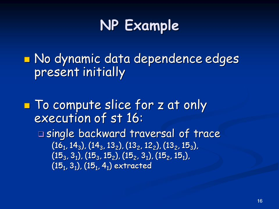 NP Example No dynamic data dependence edges present initially