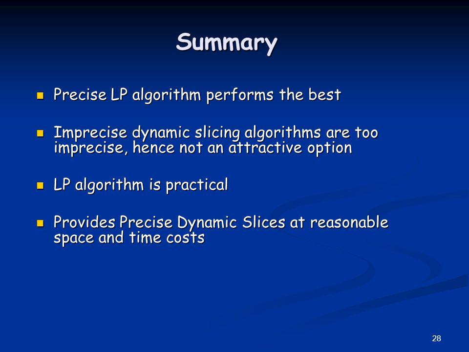 Summary Precise LP algorithm performs the best