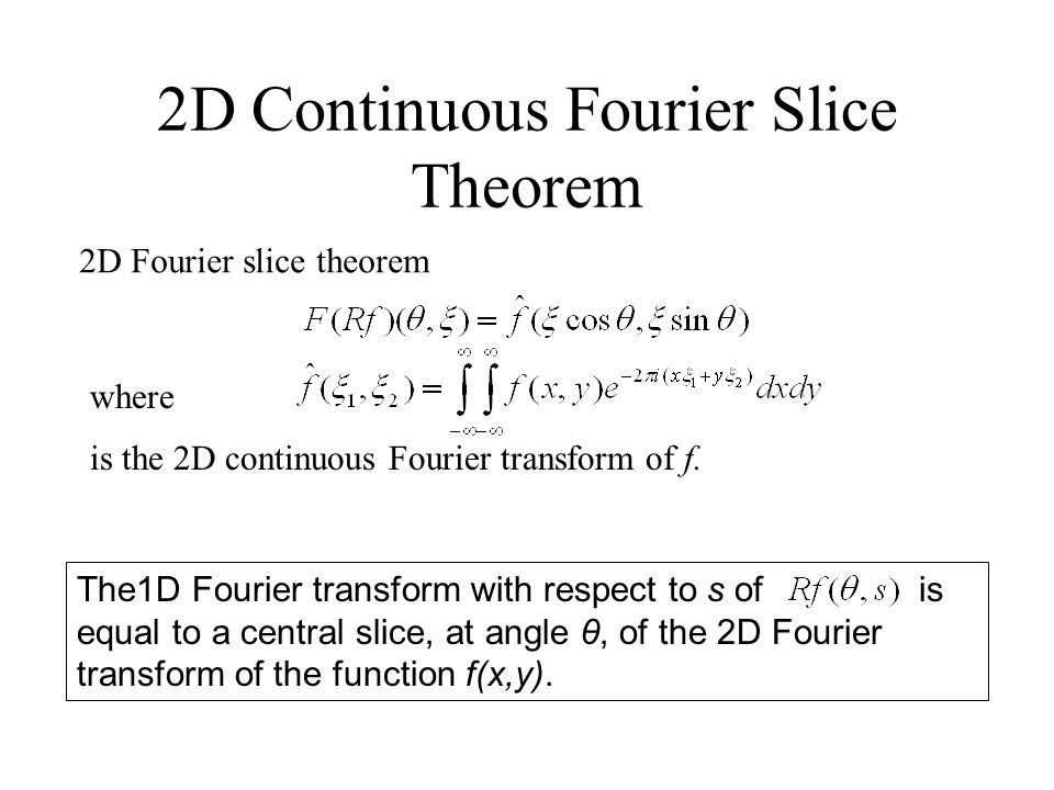 2D Continuous Fourier Slice Theorem