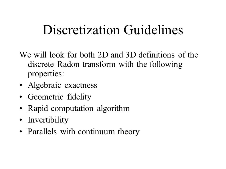 Discretization Guidelines
