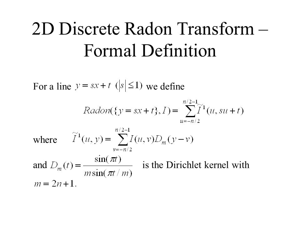 2D Discrete Radon Transform – Formal Definition