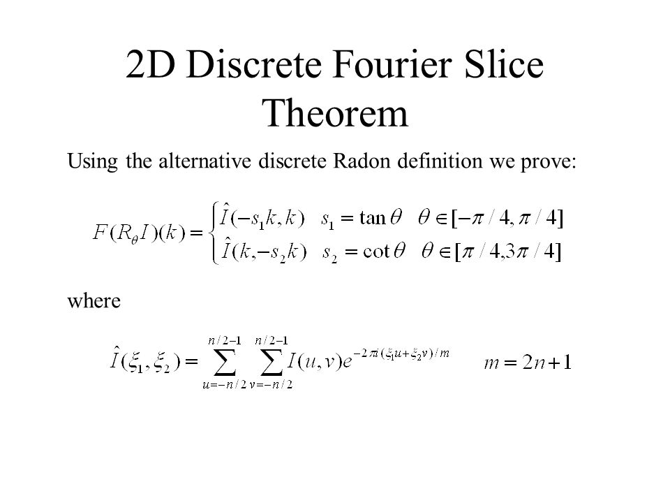 2D Discrete Fourier Slice Theorem