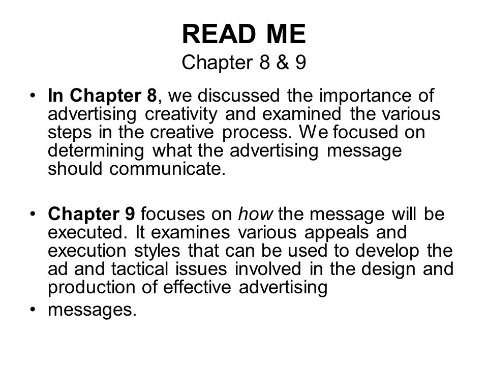 READ ME Chapter 8 & 9