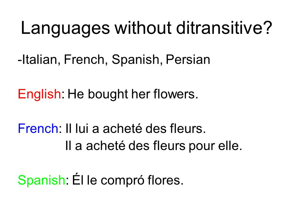 Languages without ditransitive