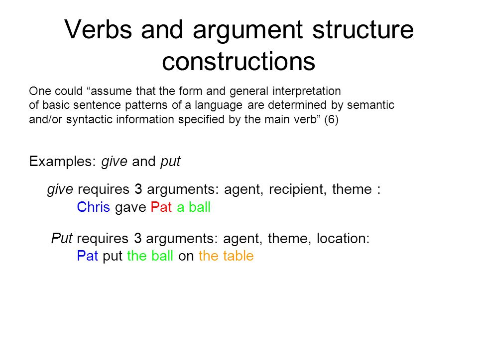 Verbs and argument structure constructions