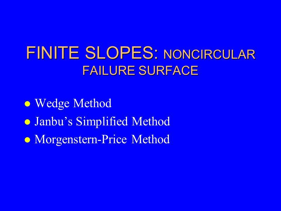 FINITE SLOPES: NONCIRCULAR FAILURE SURFACE