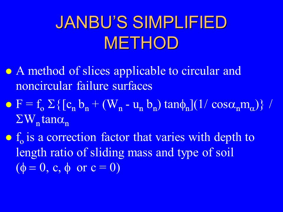 JANBU'S SIMPLIFIED METHOD