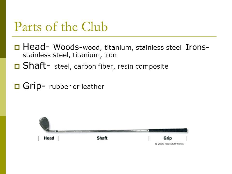 Parts of the Club Head- Woods-wood, titanium, stainless steel Irons- stainless steel, titanium, iron.