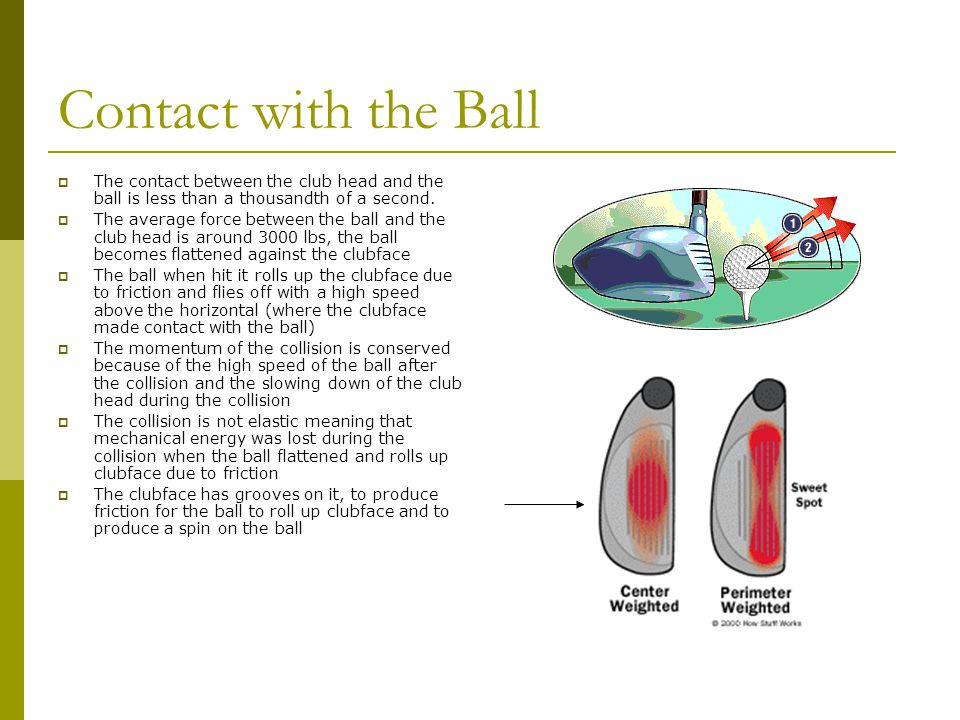 Contact with the Ball The contact between the club head and the ball is less than a thousandth of a second.
