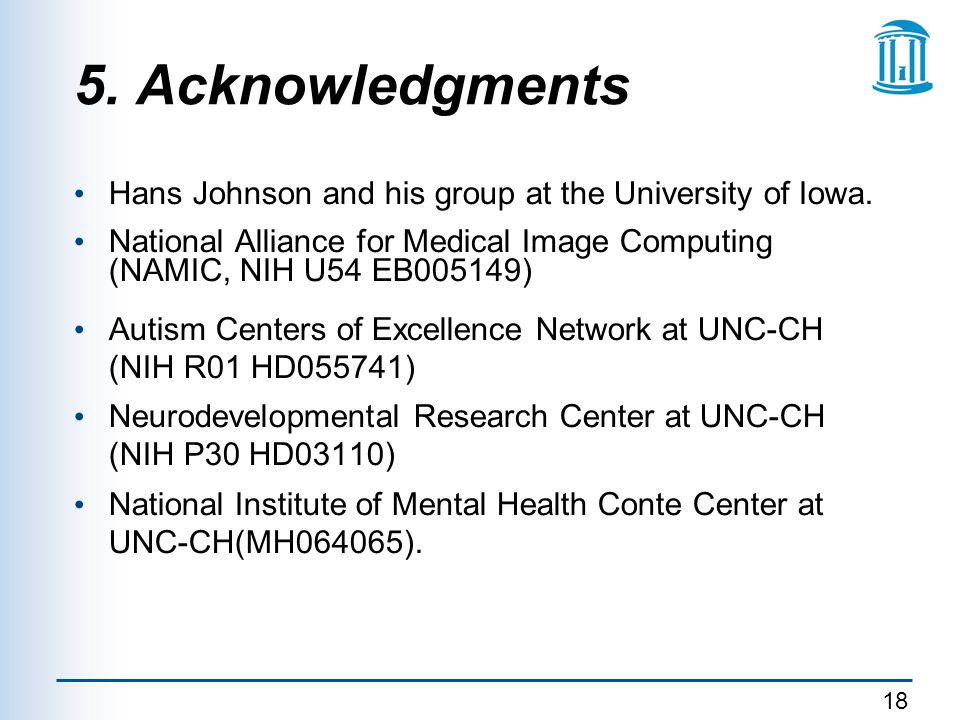 5. Acknowledgments Hans Johnson and his group at the University of Iowa. National Alliance for Medical Image Computing (NAMIC, NIH U54 EB005149)