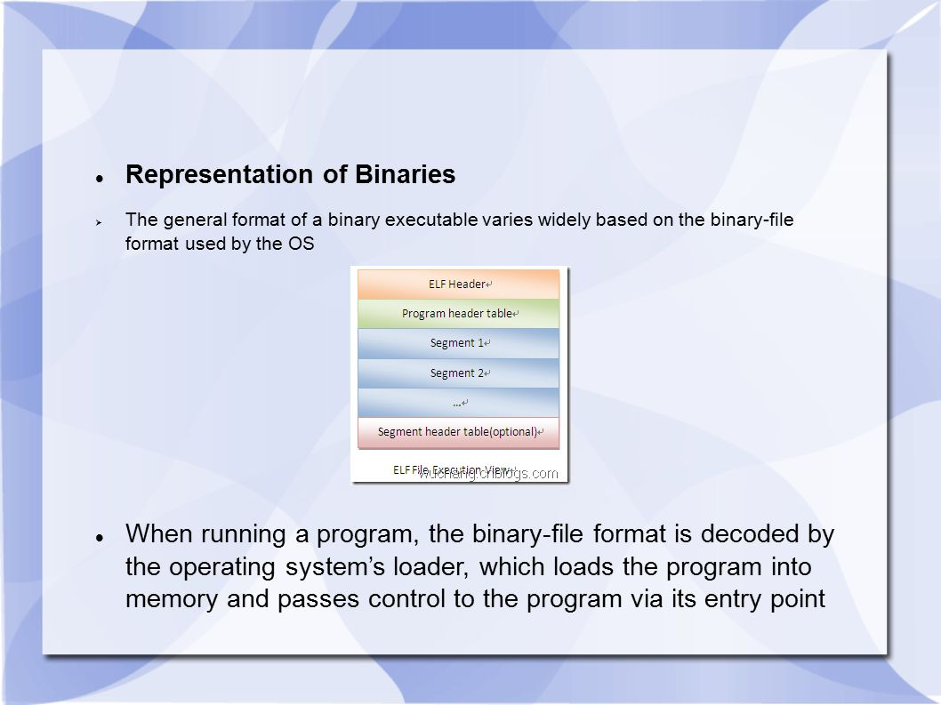 Representation of Binaries