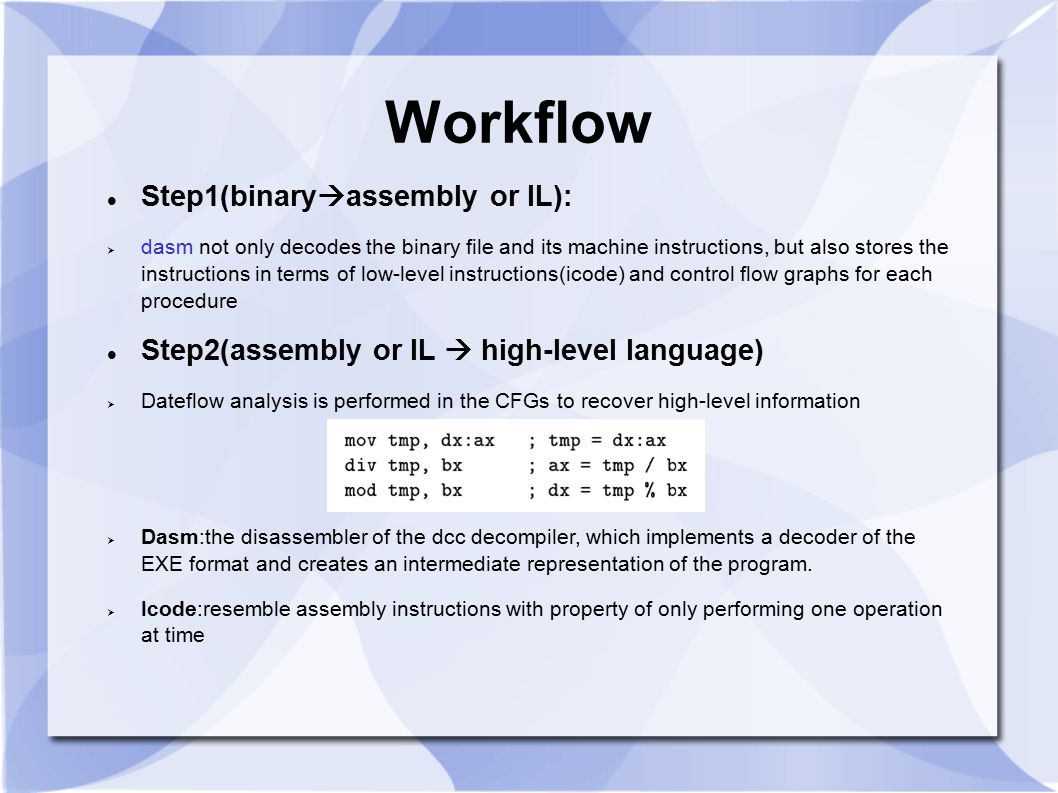 Workflow Step1(binaryassembly or IL):
