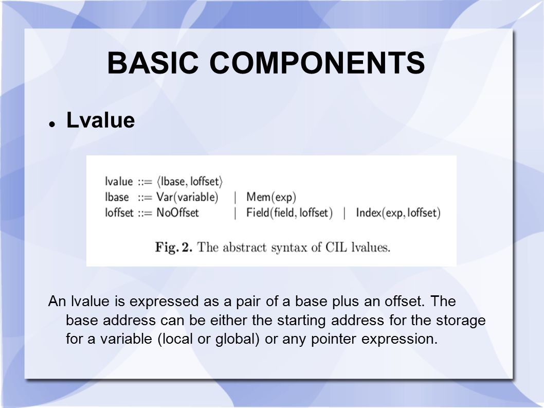 BASIC COMPONENTS Lvalue
