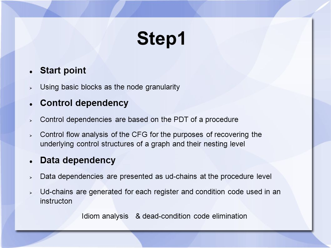 Step1 Start point Control dependency Data dependency
