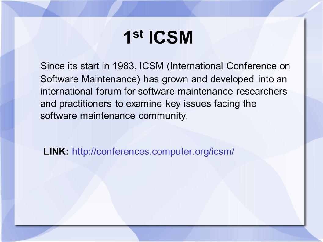 1st ICSM