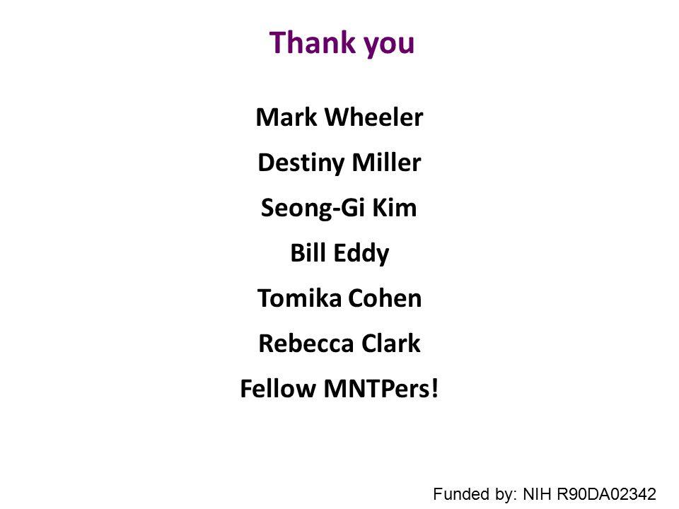 Thank you Mark Wheeler Destiny Miller Seong-Gi Kim Bill Eddy