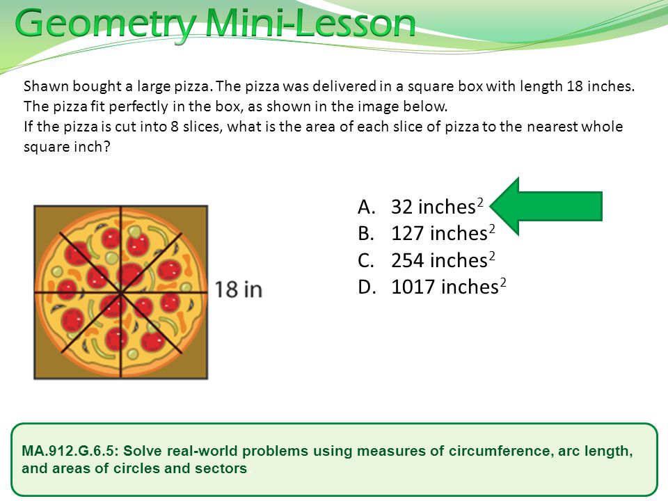 Geometry Mini-Lesson 32 inches2 127 inches2 254 inches2 1017 inches2