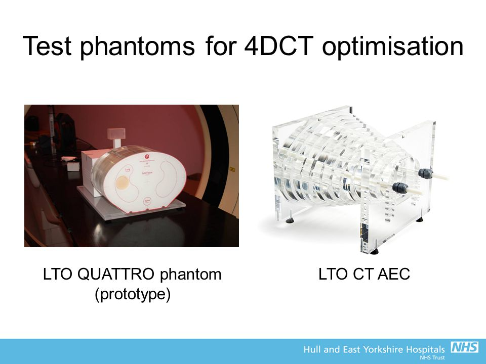 Test phantoms for 4DCT optimisation